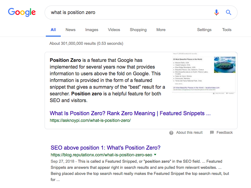 Position Zero results prominently display the page title and URL of the source of the information, enabling searchers to click through to keep reading.